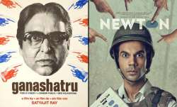 uncanny resemblance between posters of Newton and Satyajit