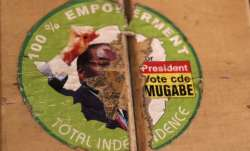 An old torn election sticker, with a portrait of Zimbabwean