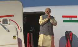 PM Narendra Modi arrives at Aizawl's Lengpui Airport.