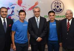 AIFF President Praful Patel with Baichung Bhutia and Sunil- India Tv