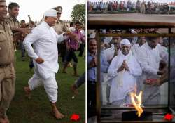 fasting hazare surprises policemen with a fast sprint