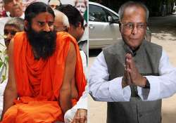pranab s candidature has lowered dignity of prez post ramdev