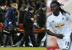 swansea striker gomis collapses during premier league match