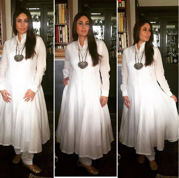 It was difficult to take one's eyes off from Bebo, who looked gorgeous in her simple white anarkali.