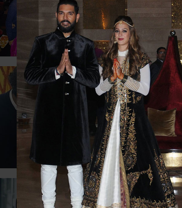 During the sangeet ceremony, groom-to-be Yuvraj chose a black bandhgala and white pants and looked dapper in his outfit. On the other hand, Hazel looked every inch of beautiful in her monochrome ensemble adorned with gold zari work.