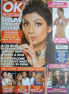 The model-actress Shilpa Shetty became the first face on the cover of OK magazine's first issue in India.