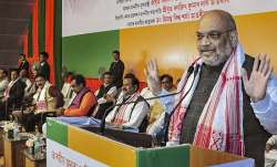 BJP President Amit Shah addresses the foundation stone