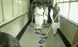 Video | Amit Shah sweeps floors at AIIMS as BJP launches