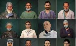 A combo of portraits of Italian doctors and nurses taken during a break or at the end of their shift