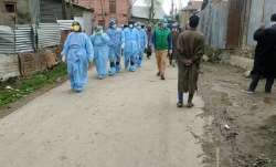 Health workers on a round of a village in Jammu and Kashmir