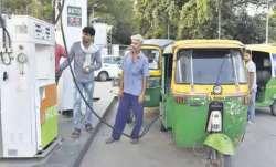 Representational image of autorickshaws at a CNG pump in