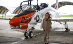 In this photo provided by the U.S. Navy, student Naval aviator Lt. j.g. Madeline Swegle, assigned to