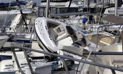 Boats are piled on each other at the Southport Marina following the effects of Hurricane Isaias in S