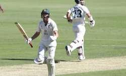 Australia's Marnus Labuschagne celebrates on reaching his