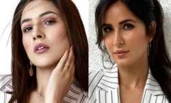 Shehnaaz Gill or Katrina Kaif in white stripes pantsuit-