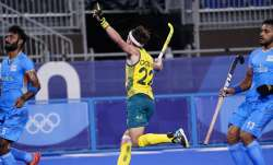 Australia's Flynn Andrew Ogilvie (22) reacts to his goal on