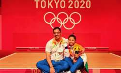 Indian Weightlifter Saikhom Mirabai Chanu with her coach
