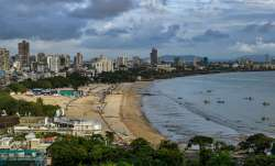 A top angle view of Girgaum Chowpatty looking empty on