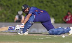 India's Rohit Sharma plays a sweep shot during the Cricket