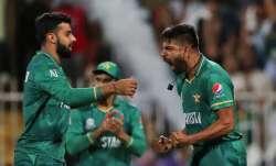 Pakistan's Haris Rauf celebrates the dismissal of New