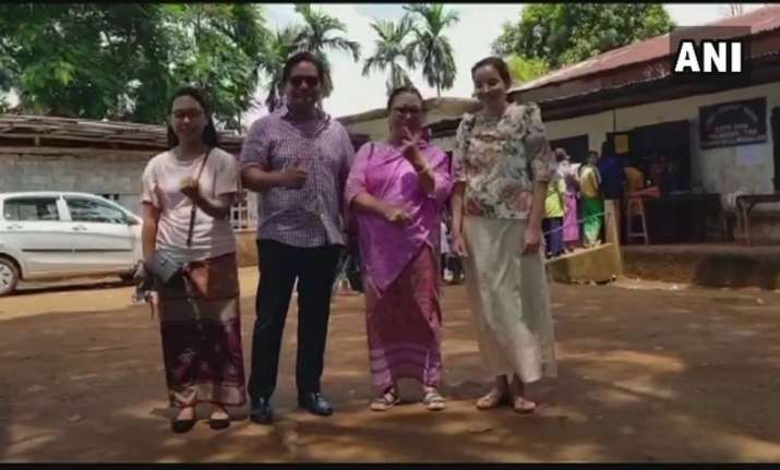 Meghalaya CM Conrad Sangma along with his family, after