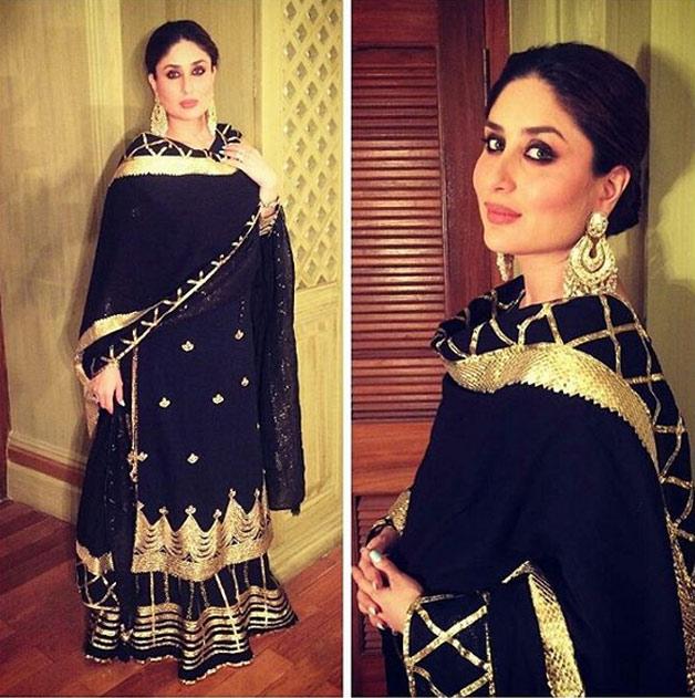 8b3fc0b680197 Begum Pataudi looks ethereal in black and gold sharara designed by Sukriti  and Akriti. She