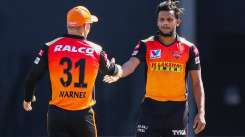 T Natarajan and David Warner in IPL 2020
