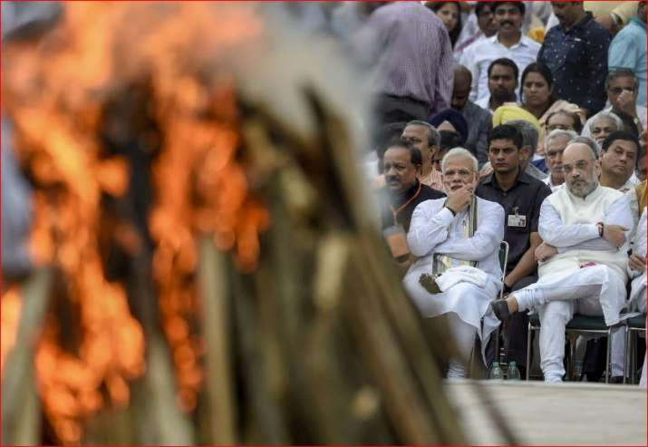 Vajpayee's mortal remains were consigned to flame in