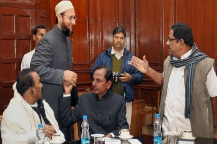Owaisi with TRS supremo and Telangana Chief Minister K