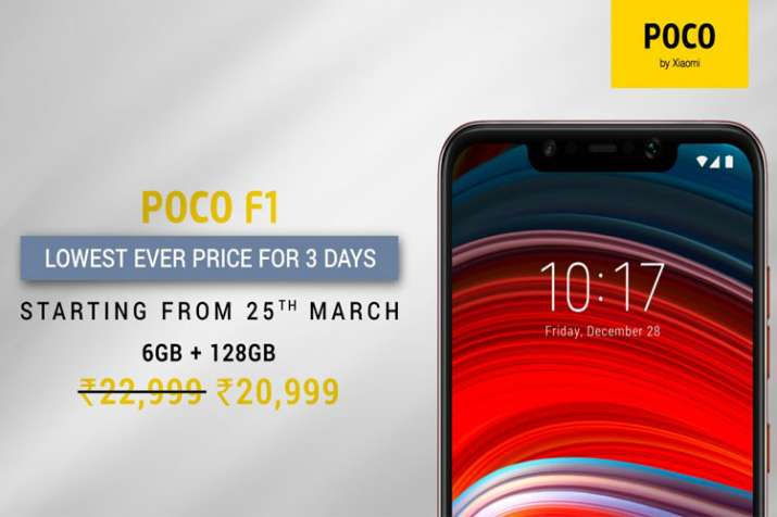 Poco F1 6GB+128GB gets a price cut of Rs 2000 for a limited period starting from March 25 to 28
