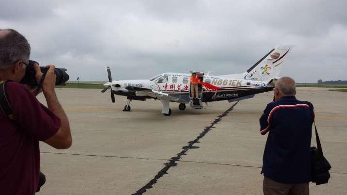 Before landing on Sunday morning, Bo Zhang circled around a