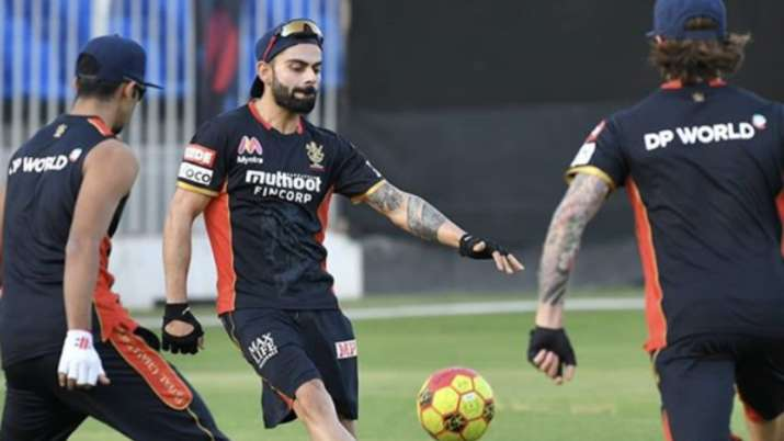Virat Kohli shared a picture of him playing football on his