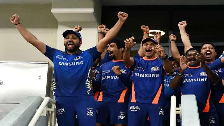 Rohit Sharma celebrating MI's fifth IPL title.