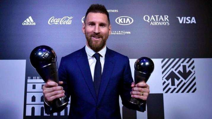 Lionel Messi after winning The Best FIFA Men's Player in