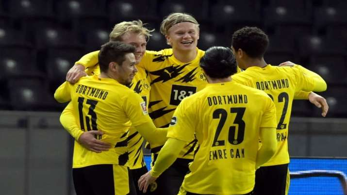 Dortmund beat Hertha Berlin 5-2 to move second on