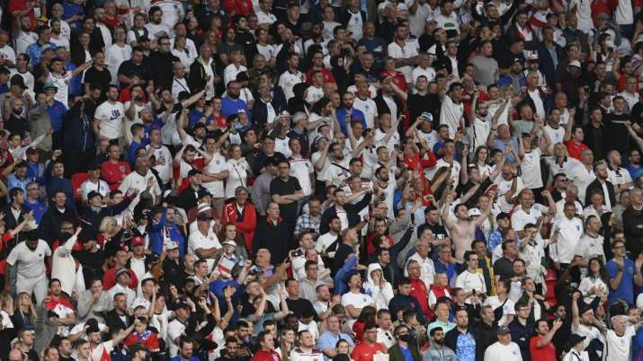 England fans cheer during the Euro 2020 final soccer match between Italy and England