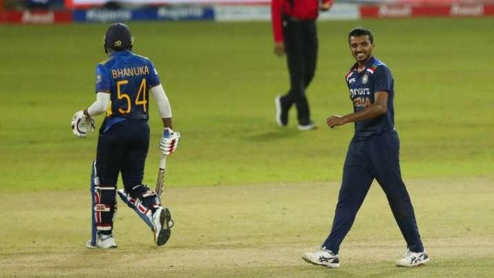 Chetan Sakariya, right, celebrates the dismissal of Sri Lanka's Bhanuka Rajapaksa