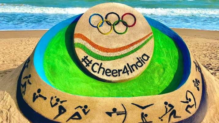 Sudarsan Pattnaik unveils sand art for Indian athletes ahead of Tokyo Olympics