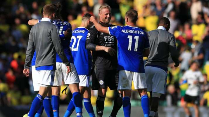 Kasper Schmeichel and Marc Albrighton of Leicester City