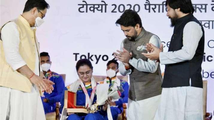 Sports Minister Anurag Thakur felicitates triumphant Paralympians