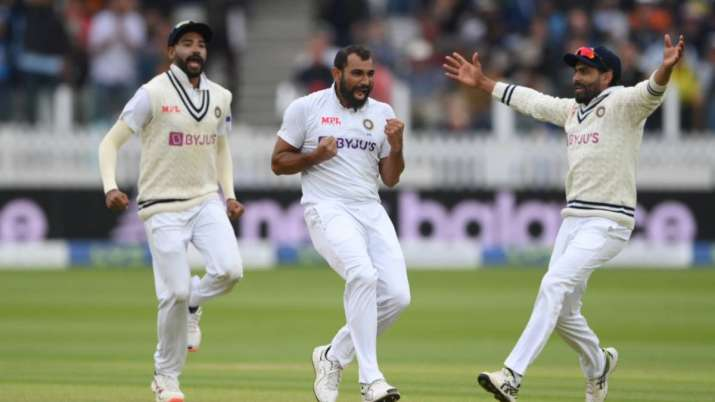 Mohammed Shami celebrates after taking the wicket of England's Dom Sibley during second Test